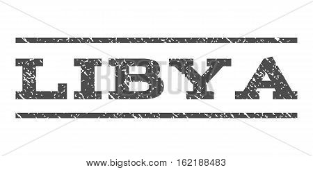 Libya watermark stamp. Text caption between horizontal parallel lines with grunge design style. Rubber seal stamp with dirty texture. Vector gray color ink imprint on a white background.