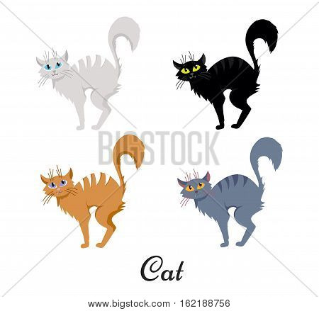 vector Set of Halloween cartoon hand drawn disheveled cat illustration. Web design, decoration, banner, poster, print, typographic, textile element. Background, texture