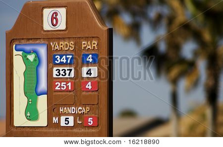 A golf course sign showing yardage and par.  Change boxes to suit your own requirement.
