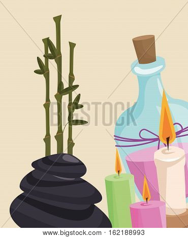 spa therapy lotion aroma candle hot stone vector illustration eps 10