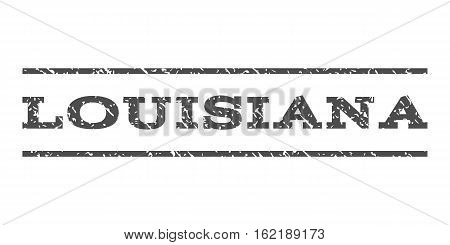 Louisiana watermark stamp. Text tag between horizontal parallel lines with grunge design style. Rubber seal stamp with unclean texture. Vector gray color ink imprint on a white background.