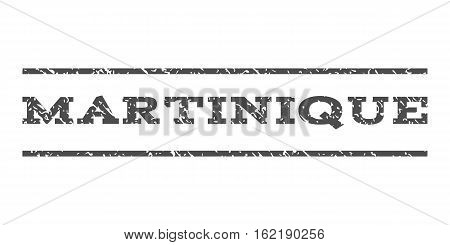 Martinique watermark stamp. Text tag between horizontal parallel lines with grunge design style. Rubber seal stamp with scratched texture. Vector gray color ink imprint on a white background.