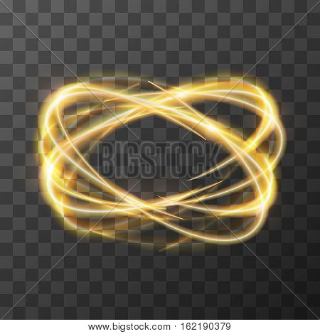 Neon blurry swirl, golden trail effect at motion. Luminous rings on transparent background