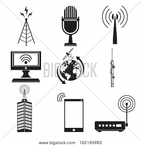 collection communication information transmitter service vector illustration eps 10
