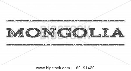 Mongolia watermark stamp. Text tag between horizontal parallel lines with grunge design style. Rubber seal stamp with dirty texture. Vector gray color ink imprint on a white background.