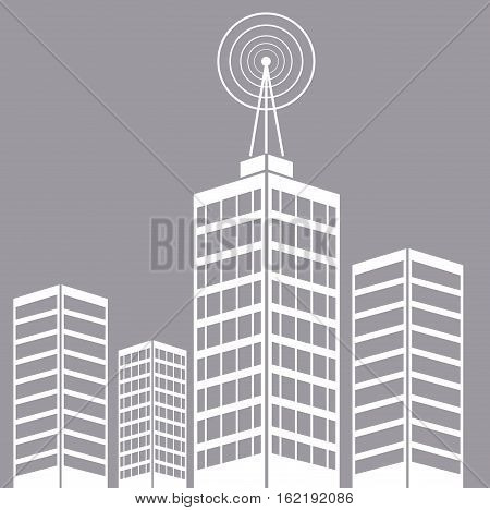 city building tower antenna transmitter vector illustration eps 10