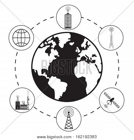 globe antenna provider communication vector illustration eps 10