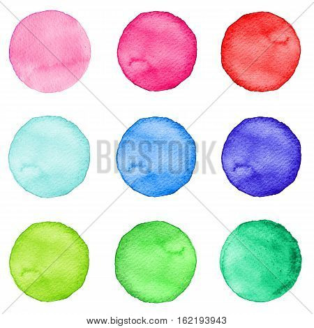 Set Of Watercolor Circles Pastel Colors. Illustration For Artistic Design. Round Stains, Spots Isola