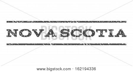 Nova Scotia watermark stamp. Text tag between horizontal parallel lines with grunge design style. Rubber seal stamp with scratched texture. Vector gray color ink imprint on a white background.