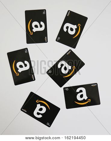 NEW YORK - DECEMBER 18, 2016: Amazon gift cards on display in New York