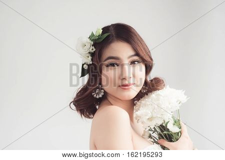 Portrait Of Beautiful Asian Woman Wedding Model Isolated On White Background.