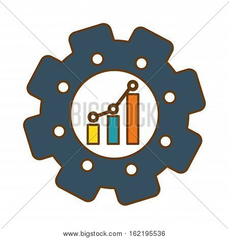 gear with graphic chart icon over white background. colorful design. vector illustration