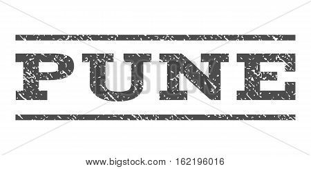 Pune watermark stamp. Text tag between horizontal parallel lines with grunge design style. Rubber seal stamp with dust texture. Vector gray color ink imprint on a white background.