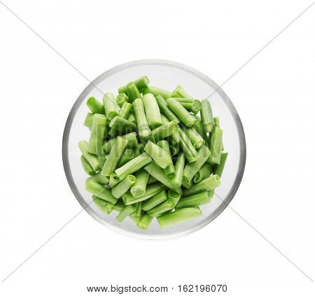 French beans in bowl beans on white background