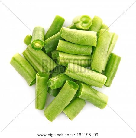 Chopped French beans on white background