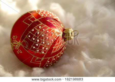 New Year And Christmas Composition: Fir Tree Balls In Wadding