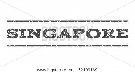 Singapore watermark stamp. Text tag between horizontal parallel lines with grunge design style. Rubber seal stamp with dirty texture. Vector gray color ink imprint on a white background.