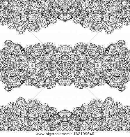 Seamless doodle uncolored pattern, vector illustration. Can be used as coloring book.