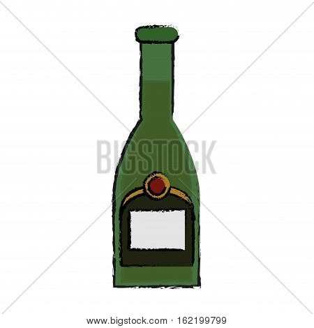 drawing green bottle champagne plastic cork outline vector illustration eps 10