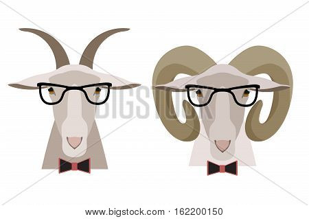 Vector Goat , sheep in glasses and bow. cartoon flat style illustration isolated. Hipster animal heads object. Elements for poster, banner, print, advertisement design.