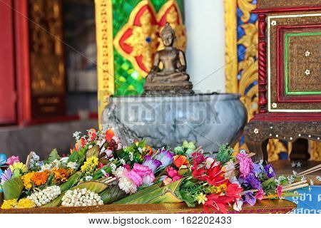 Colorful Flower In Banana Leaf Placed For Worship Buddha.