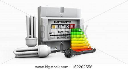 3D Illustration Of Bulb, Electricity Meter Isolated On White