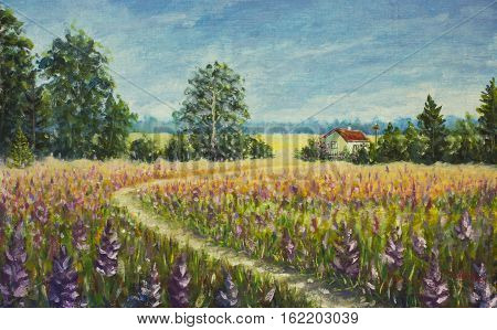 Original oil painting Track in the field leading to the house on canvas. Modern Impressionism Art. Artwork.