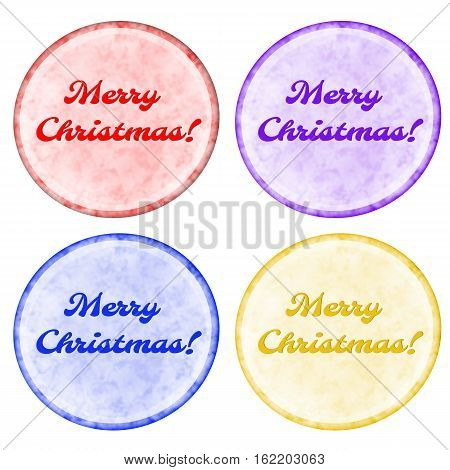 Christmas Buttons Set With Bright Border Isolated On White.