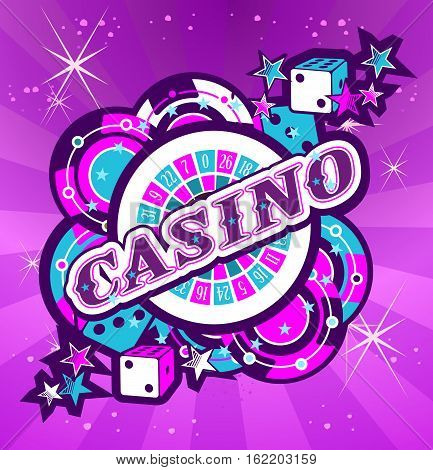 Casino Party Vector game of roulette and dice emblem gambling house gambling machines the glowing neon sign