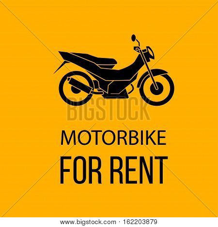 motorbike for rent poster, isolated vector illustration on yellow color background