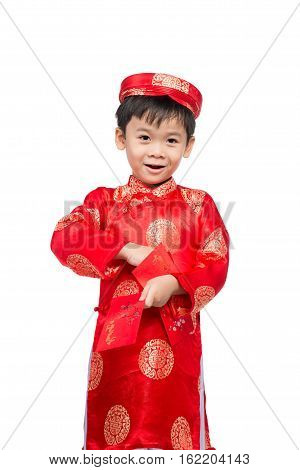 Little Vietnamese Boy Holding Red Envelops For Tet. The Word Mean Double Happiness. It Is The Gift I