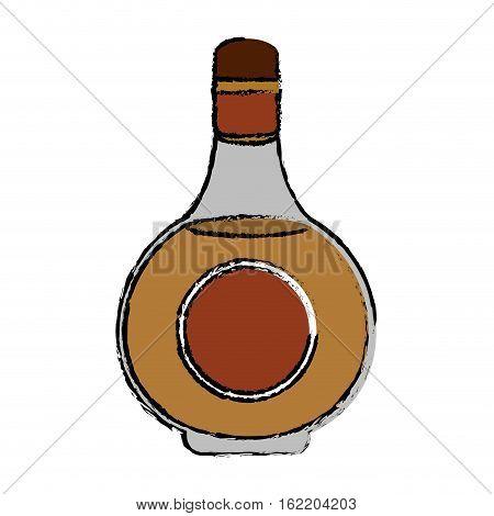 drawing cognac bottle alcochol drink style vector illustration eps 10