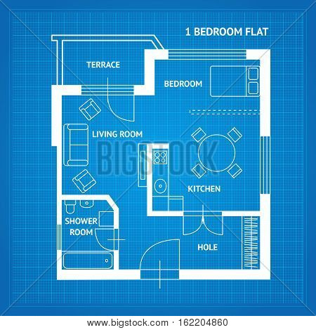 Apartment Floor Plan Blueprint Top View. Basic Room of Home. Vector illustration