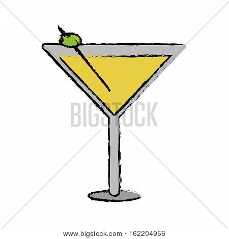 drawing glass cocktail martini with olive vector illustration eps 10
