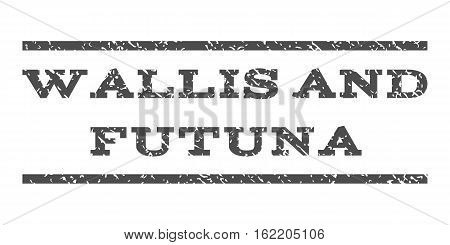 Wallis and Futuna watermark stamp. Text tag between horizontal parallel lines with grunge design style. Rubber seal stamp with scratched texture. Vector gray color ink imprint on a white background.