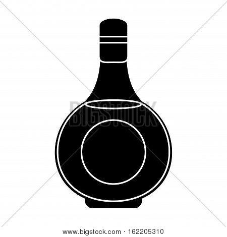silhouette cognac bottle alcochol drink style vector illustration eps 10