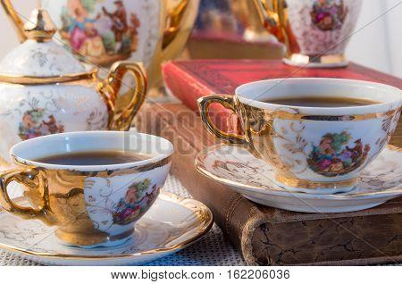 Retro Porcelain Coffee Cups With Hot Espresso Closeup