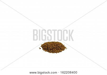 Pile of the instant granulated coffee isolated on white