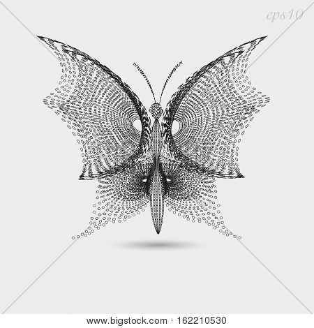 Butterfly graphic image Author's design style of pointillism insect wings dot black openwork pattern handmade print logo eps10 vector illustration Stock