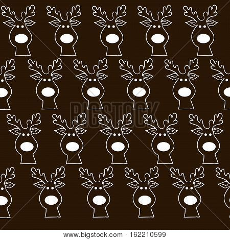 Funny Christmas moose pattern Author design seamless  texture animal antlers head cloven-hoofed merry white object background eps10 vector illustration Stock
