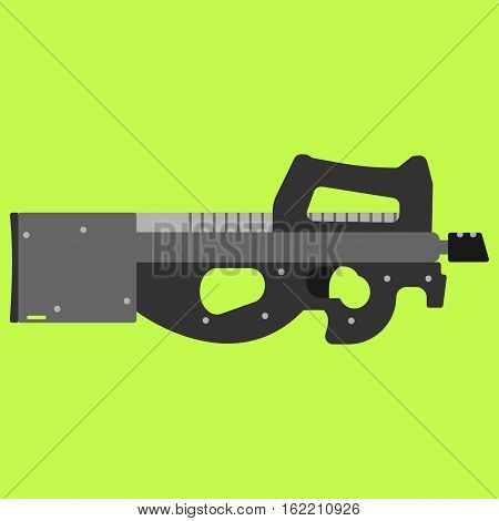 Submachine gun security and military weapon. Metal automatic gun. Criminal and police firearm vector illustration