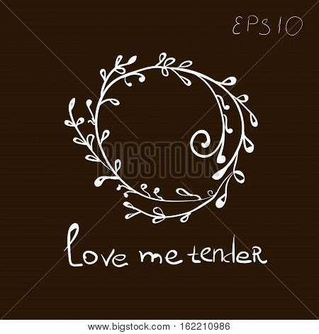 Love me tender Abstract style primitive author leaves curl design white drawing decoration body skin henna tattoo text vector illustration eps10 stock