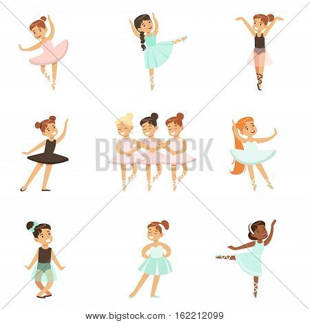 Little Girls Dancing Ballet In Classic Dance Class, Future Professional Ballerina Dancers. Small Happy Kids And Their Adorble Performance Vector Illustrations.