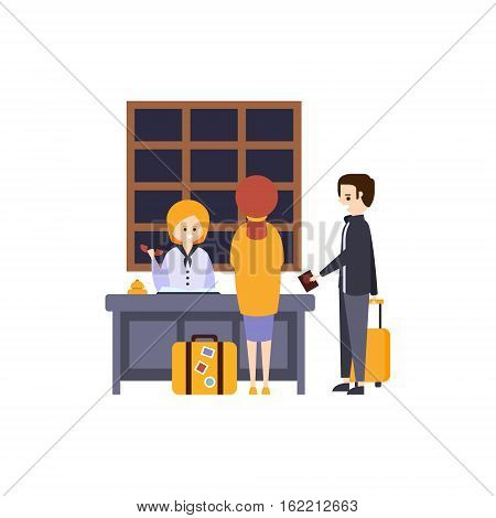 People At The Reception Desk Checking In Hotel Themed Primitive Cartoon Illustration. Part Of Inn Clients And Employees Collection Of Situations Vector Flat Drawings.