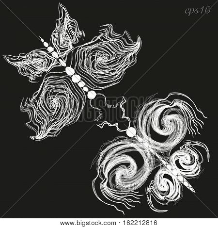 Two white butterfly Author design decoration insect wings four lines curl openwork pattern moth set couple eps10 vector illustration Stock