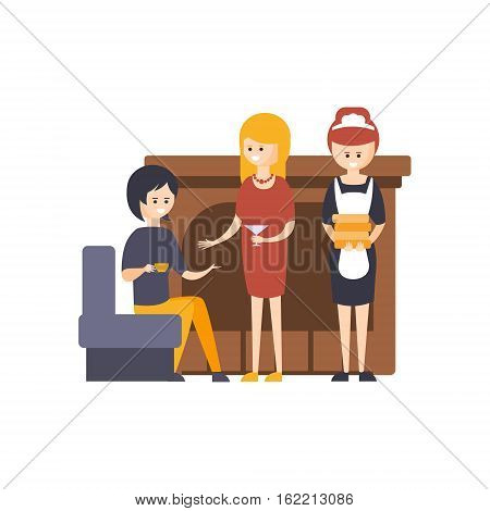 Guests Drinking Cocktails Next To Fireplace At The Lobby With Maid Standing Beside Hotel Themed Primitive Cartoon Illustration. Part Of Inn Clients And Employees Collection Of Situations Vector Flat Drawings.