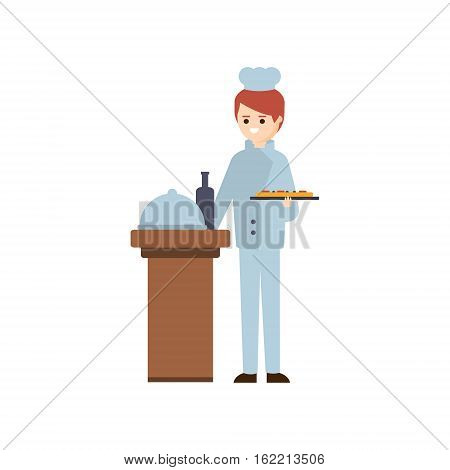 Restaurant Chief Preparing A Meal Hotel Themed Primitive Cartoon Illustration. Part Of Inn Clients And Employees Collection Of Situations Vector Flat Drawings.