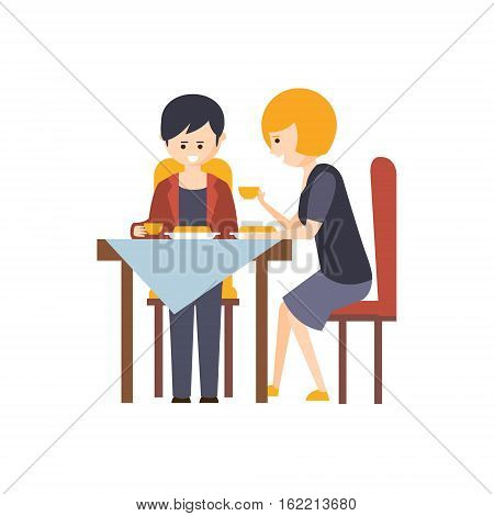 Two Guests Having Lunch At Restaurant Hotel Themed Primitive Cartoon Illustration. Part Of Inn Clients And Employees Collection Of Situations Vector Flat Drawings.