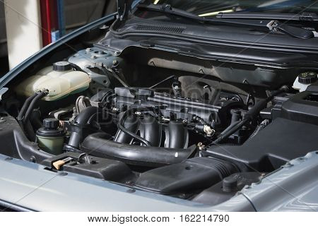 Close Up Detail Of Car Engine
