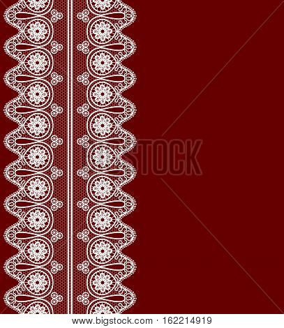 maroon background with white lace pattern border